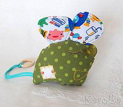 Hračky - Veselá myška Hryzka pre deti - v zelenom - 9256566_