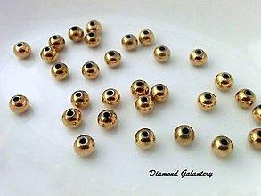 Korálky - Kovová korálka 6 mm - zlatá - 9254993_