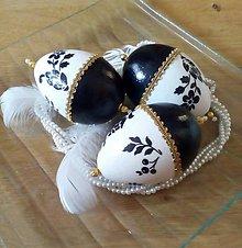 Dekorácie - Sada -Vajíčka čierno - biele I. - 9255765_