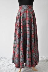 Sukne - maxi kruhová károvaná sukňa - 9255695_