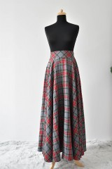 Sukne - maxi kruhová károvaná sukňa - 9255696_