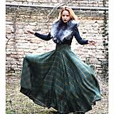 maxi kruhová károvaná sukňa