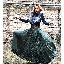 Sukne - maxi kruhová károvaná sukňa (Zelená) - 9255701_
