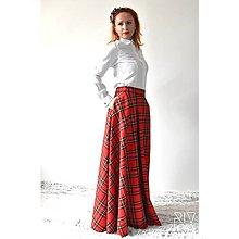 Sukne - maxi škótska károvaná sukňa - 9256423_