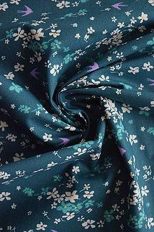 Textil - Bavlněné plátno tmavě zelené vlaštovky - 9256438_