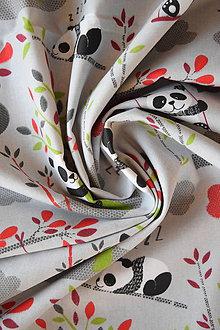 Textil - Bavlněné plátno pandy šedé - 9256558_