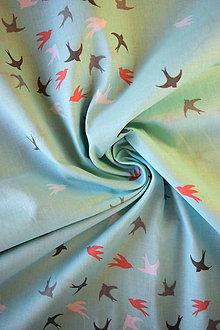 Textil - Bavlněné plátno renforcé světle tyrkysové vlaštovky - 9256645_