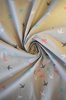 Textil - Bavlněné plátno renforcé světle šedé vlaštovky - 9256667_
