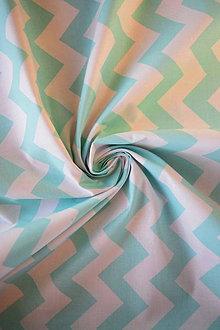 Textil - Bavlněné plátno renforcé chevron světlý tyrkys - 9256774_