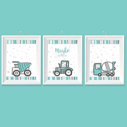 Personalizovaná 3séria s autíčkami v mentolovo sivej farbe pre chlapčeka