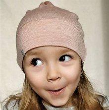Detské čiapky - Detská rastúca merino čiapka so štýlovým uzlíkom - ružová - 9255581_