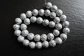 Minerály - Láva strieborná 10mm - 9255726_