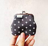 Peňaženky - Peňaženka mini Krížiky na šedej - 9254019_