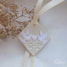 Darčeky pre svadobčanov - Visačka s iniciálami a aplikáciou - 9253141_