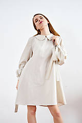 Šaty - Unikátne bavlnené šaty s extravagantnými rukávmi a jemným bodkovaním - 9255384_