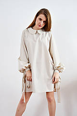 Šaty - Unikátne bavlnené šaty s extravagantnými rukávmi a jemným bodkovaním - 9255385_