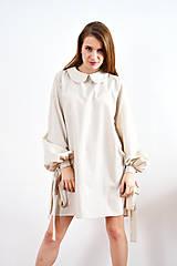 - Unikátne bavlnené šaty s extravagantnými rukávmi a jemným bodkovaním - 9255386_