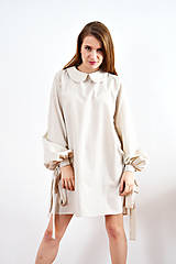 Šaty - Unikátne bavlnené šaty s extravagantnými rukávmi a jemným bodkovaním - 9255386_