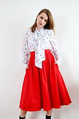 Sukne - Červená sukňa so záhybmi - 9255872_