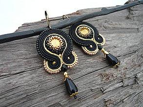 Náušnice - Soutache náušnice Black&Gold - 9260702_