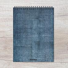 Papiernictvo - MADEBOOK špirálový blok A5 - MODRÉ PLÁTNO - 9259012_
