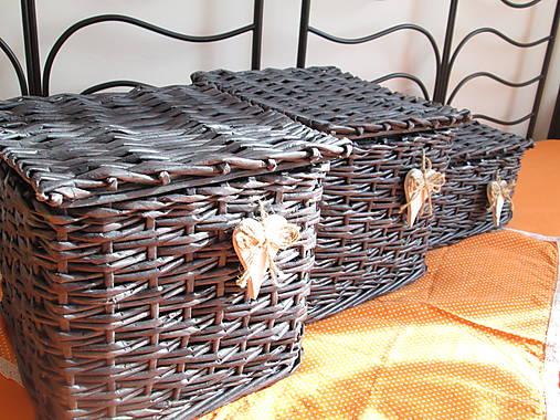 Košíky - Antracitové s vrchnákom (25 x 25 x 25)
