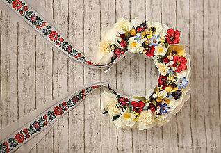 Ozdoby do vlasov - Folklórna svadobná kvetinová parta - 9262709_