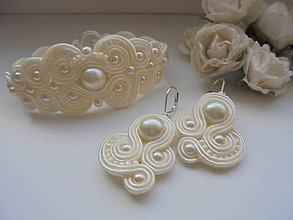 Sady šperkov - Svadobný šujtášový set - ivory - 9260757_
