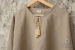 Oblečenie - Mužská ľanová košeľa Jaroslav - prírodne sivá - 9261757_