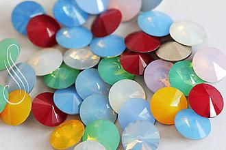 Komponenty - kabošon sklenený Opal rivoli 12 mm/ 1ks - 9259217_