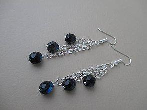Náušnice - Náušnice - modro-čierne - 9260406_