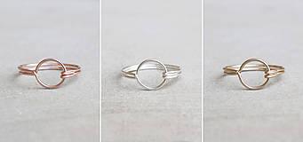 Prstene - Pozlátený prsteň s kruhom (ružové zlato) - 9262716_