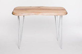 Nábytok - Konferenčný stolík s bielymi kovovými nožičkami - 9260762_