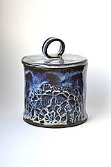 Nádoby - Čipkovaná keramická dóza (Nočná obloha) - 9257924_