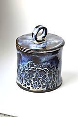 Nádoby - Čipkovaná keramická dóza (Nočná obloha) - 9257925_