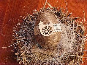 Dekorácie - Veľkonočné jutové vajíčko so sliepočkou 10cm - 9260112_