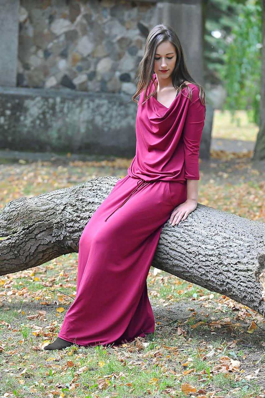 Šaty - BOHO šaty univerzálne - magenta - 9260970_