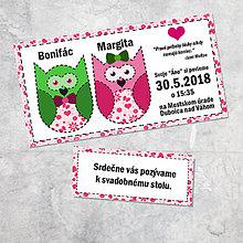 Papiernictvo - Svadobné oznámenie sovičky 3 - 9258249_