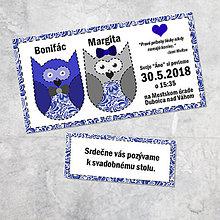 Papiernictvo - Svadobné oznámenie sovičky 4 - 9258786_