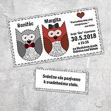Papiernictvo - Svadobné oznámenie sovičky 5 - 9261058_
