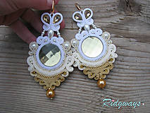 Náušnice - Big Light Gold/Ivory/White...soutache - 9266317_