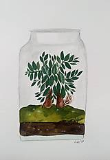 Obrazy - Bonsaiovy dom ilustrácia  / originál maľba - 9266441_