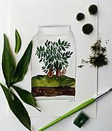 Obrazy - Bonsaiovy dom ilustrácia  / originál maľba - 9266443_