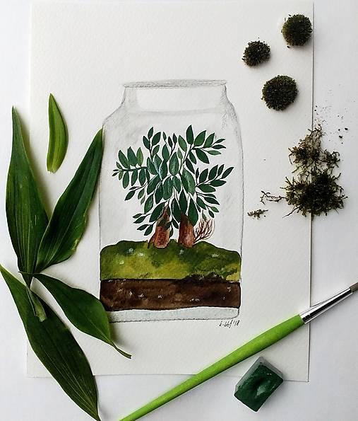 Bonsaiovy dom ilustrácia  / originál maľba