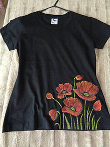 Tričká - Maky, máčiky- maľované tričko - 9266954_