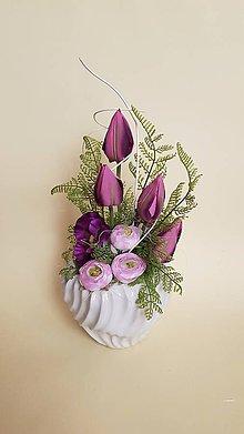 Dekorácie - jarná dekorácia ružovo-fialová - 9263629_