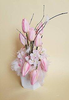 Dekorácie - jarná, veľkonočná dekorácia  s tulipánmi-ZĽAVA - 9263641_
