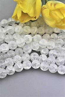 Minerály - krištál korálky 12mm - praskaný matný krištál - 9266748_