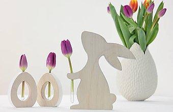 Dekorácie - drevený zajo váza - 9267209_