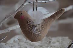 Dekorácie - Vtáčik béžový - 9267773_